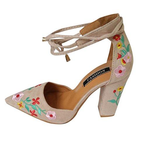 Große Heels Förderung Spitz Schwarz SANFASHION Schuhe mit Frauen Crude Wildflower High Stickerei wWwOrR7nqf