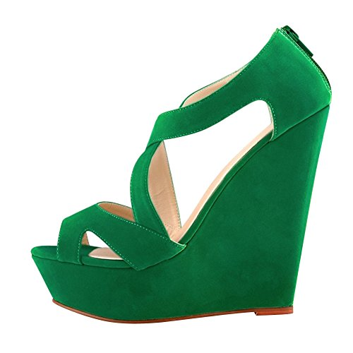 Fereshte Womens Falso Velluto Gladiatore Strappy Abito Piattaforma Sandali Con Zeppa Alta Verde