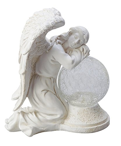 Moonrays 92367 Serene Angel Garden Statue with Crackle Globe & Solar Powered White Ledstone (Grace Angel Figurine)