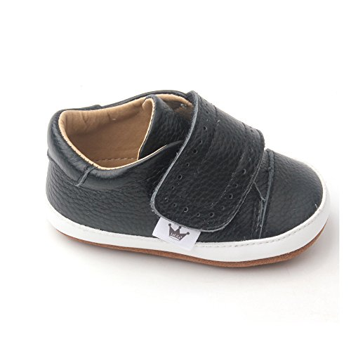 Liv & Leo Baby Boys Athletic Oxford Soft Sole Crib Shoes Leather Leather (12-18 Months, Black)