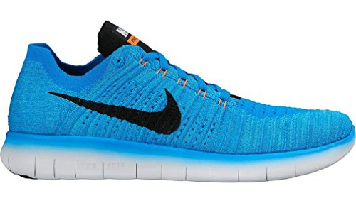 NIKE Men's Free RN Flyknit, Photo Blue/Black-Gamma Blue-Total Orange Photo Blue/ Black
