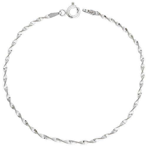 Sterling Silver Twisted Herringbone Chain Necklace Nickel Free 2mm, 16 inch