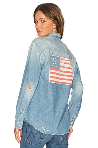 Mother Denim Women's The Frenchie Flag Shirt-Size XS
