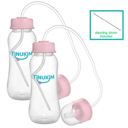 Tinukim Hands Free Baby Bottle - Anti-Colic Nursing System, 9 Ounce (Set of 2 - Pink)