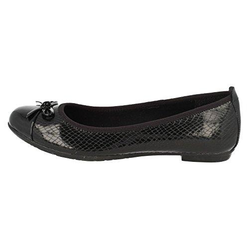 Clarks Tizz Hoffnung Bootleg Mädchenschule Slipper Schuh Black Leather 8 E