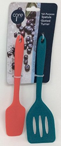 Core Kitchen 2-pc Set of Silicone Mini Utensil Set - Red All-Purpose Spatula & Deep Teal Slotted Turner