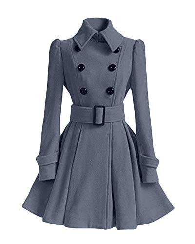 Double Trench Longues Boutonnage Manches Manteau Fit Femme Longues Hiver Fashion Slim Revers El Classique wHCa8Xq