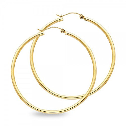 Round Plain Hoop Earrings Solid 14k Yellow Gold Classic Polished Finish Genuine New 45 x 2 ()
