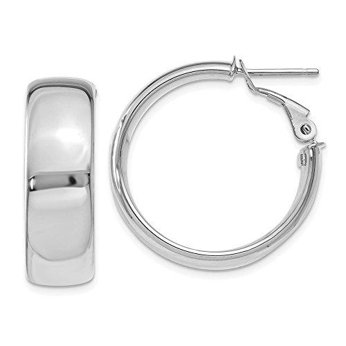 14k White Gold Italian Hoop - Roy Rose Jewelry 14k White Gold Wide Hoop 1 inch Italian Earrings