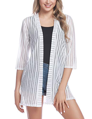iClosam Women Casual 3/4 Sleeve Sheer Open Front Cardigan Sweater (#1White(Striped), X-Large) ()