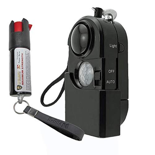 Personal Siren Motion Detector Alarm Long Range Pepper Spray Keychain Kit – Travel Wireless Intruder PIR Sensor Pull Pin Panic Alarm And Key Chain Police Strength Pepper Spray For ()