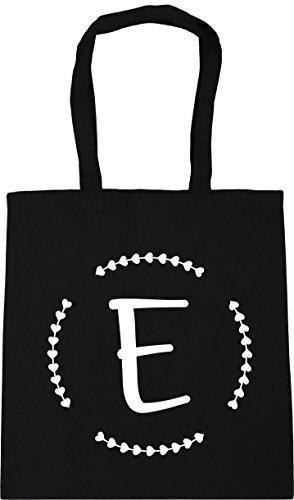 HippoWarehouse E Initial Tote Shopping Gym Beach Bag 42cm x38cm, 10 litres Black