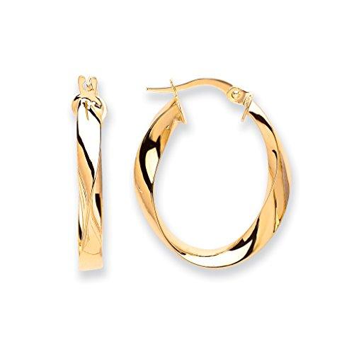 Jewellery World Bague en or jaune 9carats ovale de boucles d'oreilles