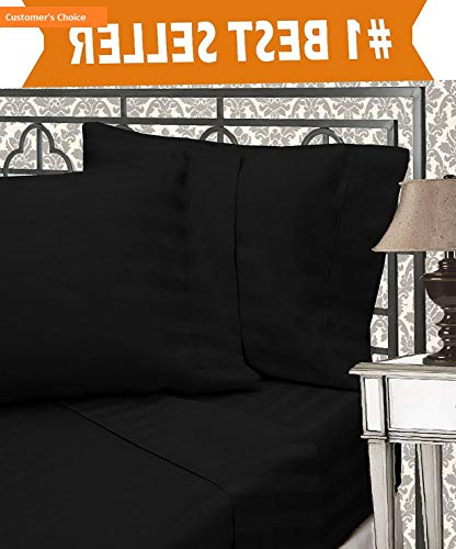 Mikash New Soft Best, Softest, Coziest 6-Piece Sheet Sets! - 1500 Thread Count Egyptian Quality Luxurious Wrinkle Resistant 6-Piece Damask Stripe Bed Sheet Set, King Black | Style 84597260