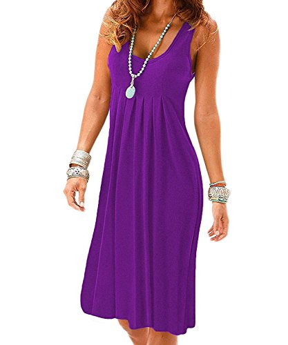 Cotton Sleeveless Cover Up - Uniboutique Women's Summer Sleeveness Round Neck Casual Pleated Cotton Beach Dress Purple L