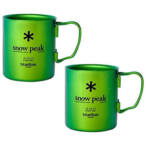 (Snow Peak Titanium Double Wall Cup 450 - Ocean Green - 2 Pack)