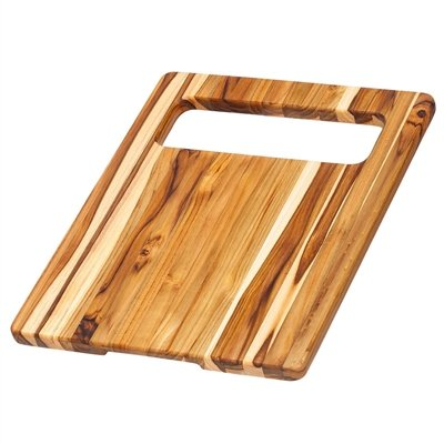 Teak Chopping Board - Rectangle Cutting Board With Slice And Slide Hole (15.5 x 12 x .75 in.) - By Teakhaus