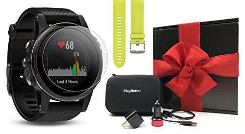 Garmin fenix 5S Sapphire (Black/Black Band) GIFT BOX Bundle | Includes Extra Band, HD Screen Protector, PlayBetter USB Car/Wall Adapter & Hard Case | Multi-Sport GPS Fitness Watch | Black Gift Box