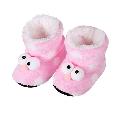 Indoor Home Slippers Flannel Shoes Plush Home Slippers Todder Baby Cute Cartoon Wooden Floor Cotton Slippers for Girls,Pink,9.5