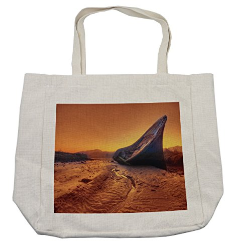 Lunarable Shipwreck Shopping Bag, Old Fishing Boat Washed Up on Shore Hulk Disaster Misfortune at Dawn Maritime Theme, Eco-Friendly Reusable Bag for Groceries Beach Travel School & More, (Female Hulk Costume Ideas)
