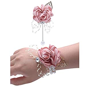 Lisong Wrist Corsage Brooch Set Flower Bead Bracelet Bridesmaid Prom Party Pink