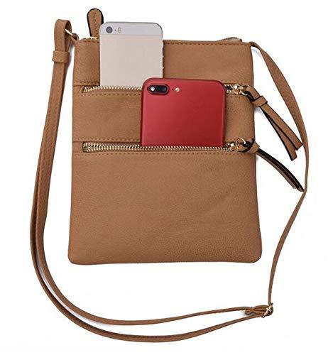 FairyBridal Triple Zipper Mutil-Pocket Leather Messenger Bag for Women,Crossbody Bag 5 Colors Satchel Purse (khaki(pu leather)) by FairyBridal (Image #6)