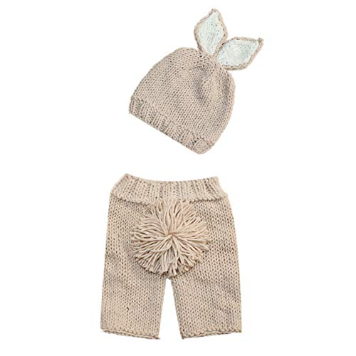 Cute Newborn Baby Photography Props Infant Boy Girl 1st Birthday Cake Smash Easter Bunny Outfits Handmade Crochet Knitted Rabbit Photo Shoot Costume Beanie Hat Diaper Cover Accessory Long Pant + Cap