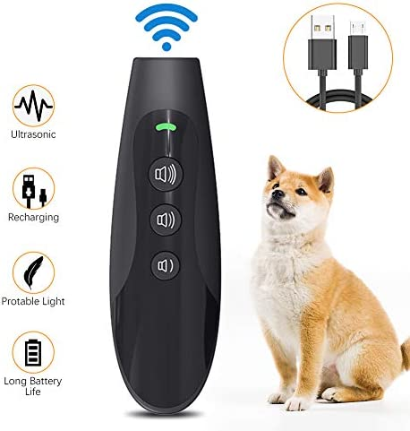 Belita Amy Anti Barking Device, Ultrasonic Dog Bark Deterrent Rechargeable Handheld Dog Training Device with 3 Adjustable Ultrasonic Volume Levels for Indoor Outdoor
