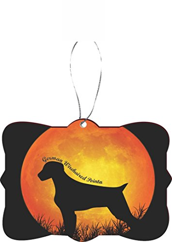(Rikki Knight Christmas Ornament/Car Rear View Mirror Hanger/Car Rear View Mirror Hanger German Wirehaired Pointer Dog Silhouette by Moon Design)