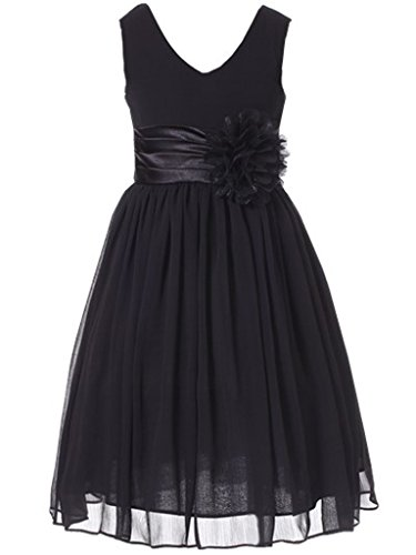 Bow Dream Flower Girl Dress Junior Bridesmaids V-Neckline Chiffon Black - Black Chiffon Bow