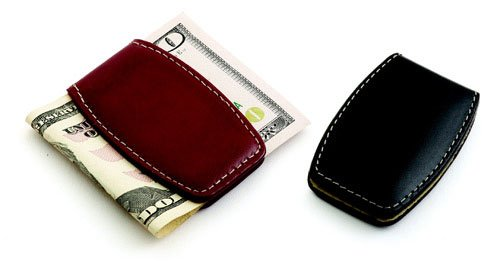 Black Leather Money Clip, 2.75