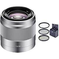 Adorama Sony 50mm F/1.8 OSS E-mount NEX Camera Lens, Silver - Bundle with 49mm Filter Kit (UV/CPL/ND2)