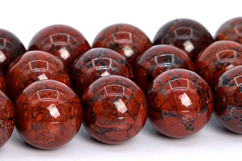 10MM Genuine Natural Red Brecciated Jasper Beads Grade AAA Round Loose Beads 15
