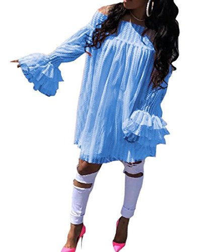 Dresses Light Women Lace Sexy Shoulder Long Plus Blue Size Glitter Cold Coolred Short Sleeve 1dAPq7wx7