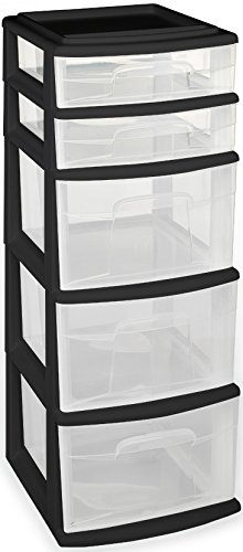 Homz Plastic 5 Drawer Medium Cart, Black Frame, Clear Drawers, Set of 2