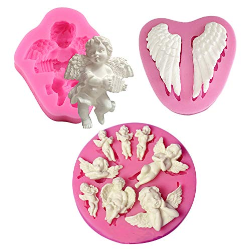 HiParty 3Pcs/Set Mini Angel Baby & Wings Fondant Molds Angelic Cherub Silicone Cake Decorating Tools Polymer Clay Molds for Boy Baby Shower Baptism CupCake Topper Decoration Favors