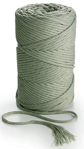 (MB CORDAS Sage Green Macrame Rope 3mm Single Twist Macrame String Soft Macrame Cord for Handmade Plant Hanger Wall Hanging Craft Making and DIY Projects (Sage Green))