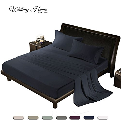 Mist Bed Set (Luxury Quality 100% Tencel 4-Piece Bed Sheet Set, 300 Thread Count Sheets, Eco-friendly, Refreshing & Silky Soft Natural Fiber, Hypoallergenic, Mist & Odors Resistant - Solid Bedding Navy Blue King)