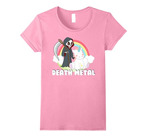 Womens Death Metal Unicorn Rainbow T-Shirt Large - Metal Pink