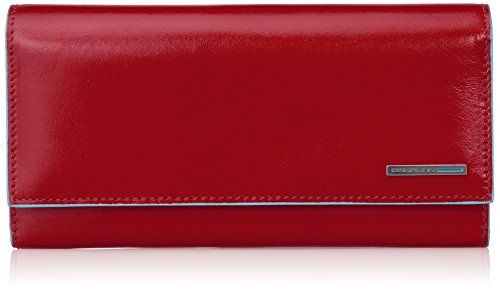 Piquadro Flap Over Women's Wallet with Two Gussets and Credit Card Slots, Red, One Size by Piquadro