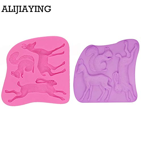 1 piece M1223 Squirrel/Rabbit/Deer Shape Silicone Mold Fondant
