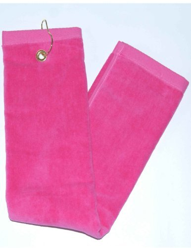 Terry Town Hot Pink Tri-Fold Golf, Hand Towel with Grommet & Hook