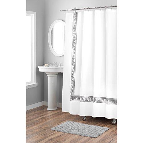 Home Dynamix Nicole Miller Greek Key 100% Cotton Fabric Shower Curtain, Standard 72