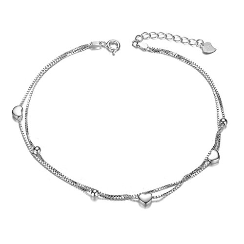 SHEGRACE Layered Heart Anklets for Women, Sterling Silver Anklet - Triple Anklet Heart