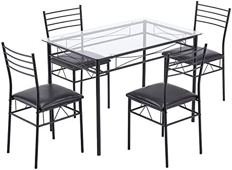 Bonnlo 5 Pieces Dining Set Kitchen Dining Table and 4 Chairs Small Glass Dining Table Set with Metal Legs and PU Padded Seat Black