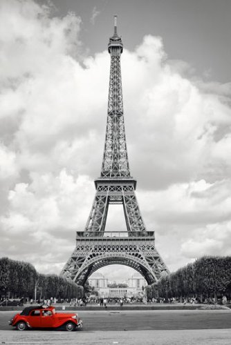 HUGE LAMINATED / ENCAPSULATED Eiffel Tower Red Car Paris POS