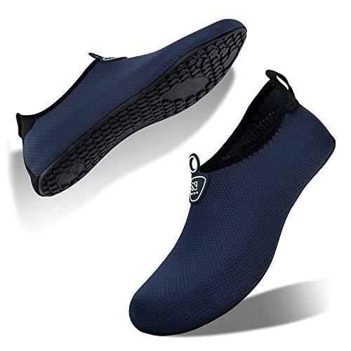 IceUnicorn Water Shoes Quick Dry Swim Aqua Barefoot Socks for Women Men(S101-Deep Blue 39/40EU)