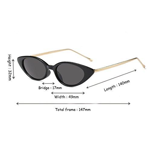 mod des modèle pour noir Gris chat lunettes ovale soleil de d'oeil de vintage Inlefen de de Rétro petit femmes ovale qBagY