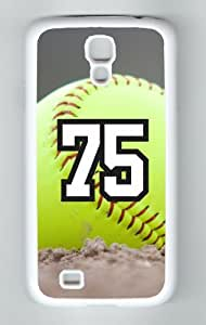 Softball Sports Fan Player Number 75 Decorative White Rubber Samsung Galaxy S4 Case