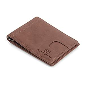 Mens Wallet Genuine Leather Slim Money Clip RFID Blocking Men's Card Holder (Copper)